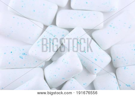 Chewing gums on the white background, close up