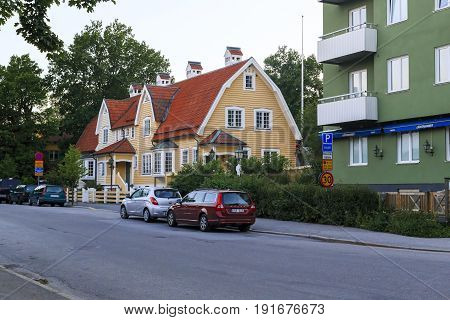 STOCKHOLM, SWEDEN - JUNE 27, 2016: This is a modern wooden residential building in the outskirts of the city of Solna.