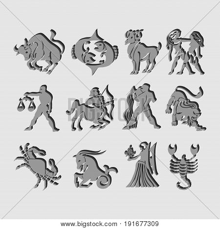 Set of icons of zodiac astrological signs image of horoscope