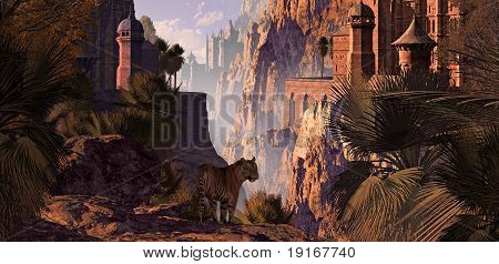 A landscape in India of a mountainous canyon with gothic castles, date palms and a Bengal tiger. poster