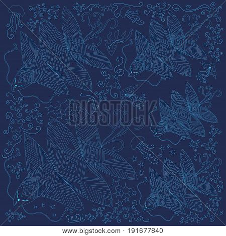 A bright beautiful banner illustration of fantastic ocean creatures; a blue contour on a blue background. Vector illustration of an ocean of fantastic creatures of jellyfish; algae; octopus.