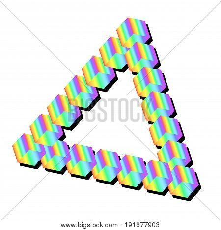Isometric rainbow triangle isolated. Vector illustration pastel multicolor triangle. Art design volumetric color triangle.