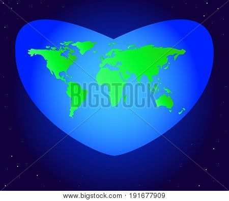 World Environment Day. Vector illustration of the mainland planet Earth green in a beautiful blue heart. Hearts in the form of a world map against the background of space and stars.