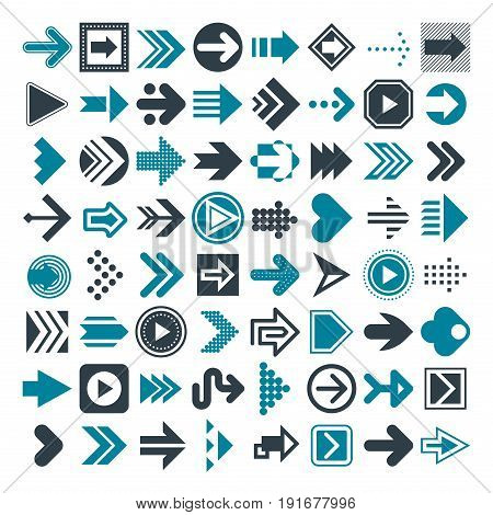 Huge set of different universal arrows icons and signs. Modern simple collection of vector pointers and cursors.