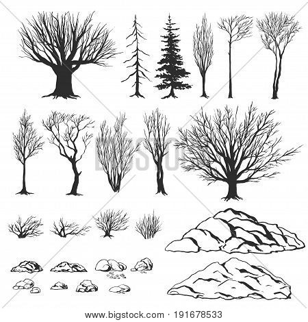 Forest constructor set. ink hand drawn elements. vector illustration