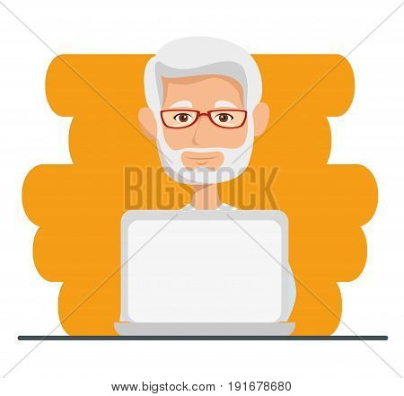 Old man with laptop ober orange and white background vector illustration