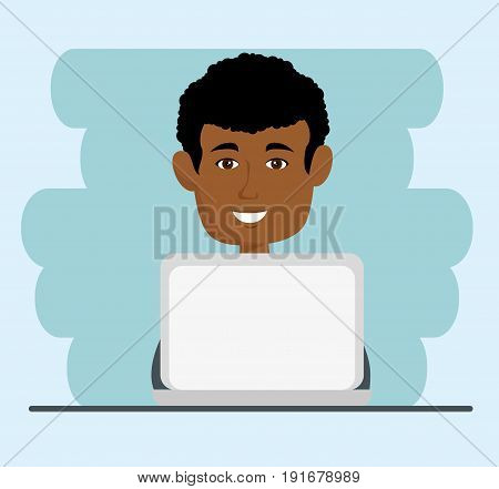 Afro american man with laptop over light blue background vector illustration