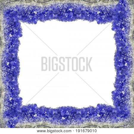macro photo of blue sapphire druse frame isolated on white background