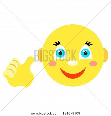Smiley with a thumbs up gesture. Icons on a white background. Vector image in a cartoon style