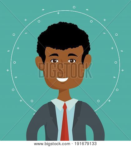 Afro american business man over teal background vector illustration