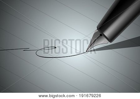 Vector Close up of a pen and signature