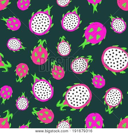 Dragon fruit background. Pitaya Painted Pattern. Seamless chaotic decoration for kitchen wallpaper, poster print, furniture textile, fashion fabric. Bright slices. Seeds, leaves. Vector illustration