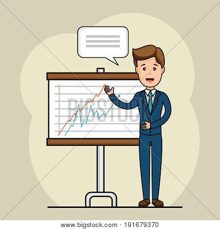Talking businessman with line graphic stats poster over beige background vector illustration
