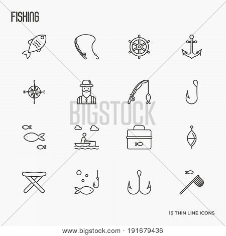 Fishing related thin line icons: fisherman, hooks, boat, rod. Vector illustration.