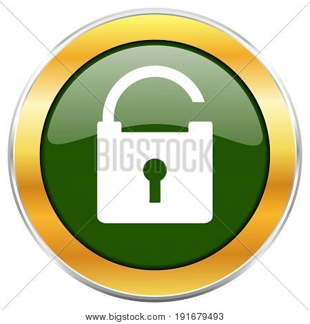 Padlock green glossy round icon with golden chrome metallic border isolated on white background for web and mobile apps designers.