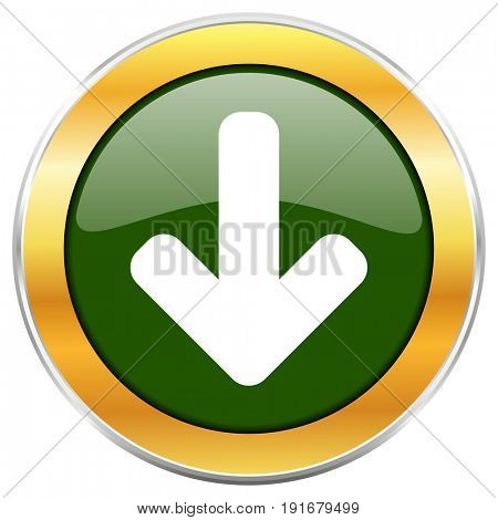 Download arrow green glossy round icon with golden chrome metallic border isolated on white background for web and mobile apps designers.