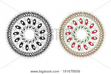Beautiful abstract round pattern black and pink green. Vector illustration