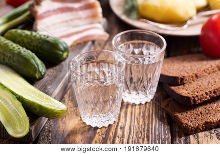 Glasses Of Vodka With Traditional Russian Snack