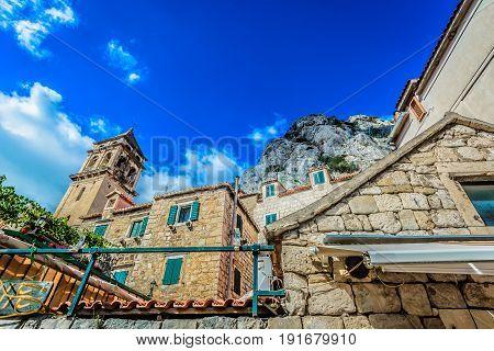Scenic marble view at center of small town Omis in Dalmatia region, Croatia.