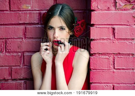 Flamenco Dancer In Red Dress And Flower