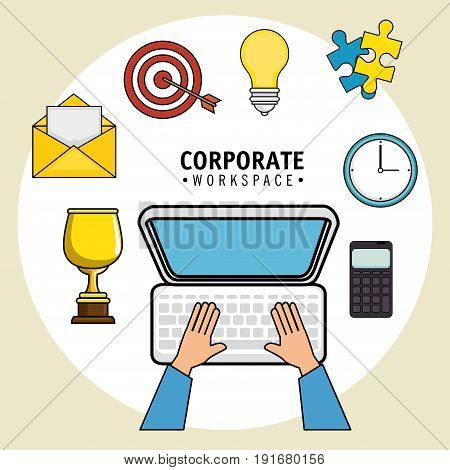 Corporate workspace design with office supplies  and hands working on computer over light background vector illustration