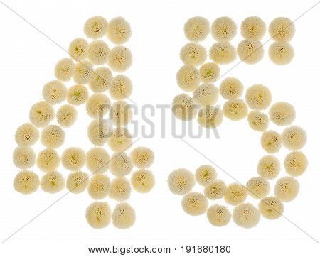 Arabic Numeral 45, Forty Five, From Cream Flowers Of Chrysanthemum, Isolated On White Background