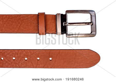 Fashionable male brown gray leather belt isolated on white background.