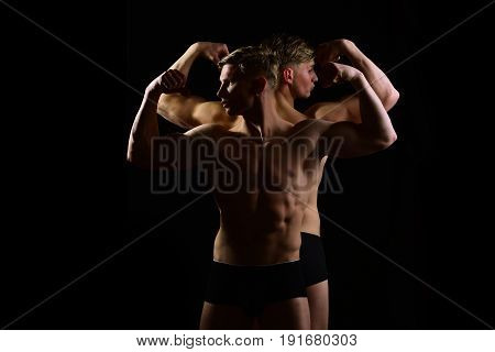 Men, Muscular Twins With Bare Torso, Six Pack In Underwear