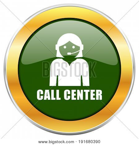 Call center green glossy round icon with golden chrome metallic border isolated on white background for web and mobile apps designers.
