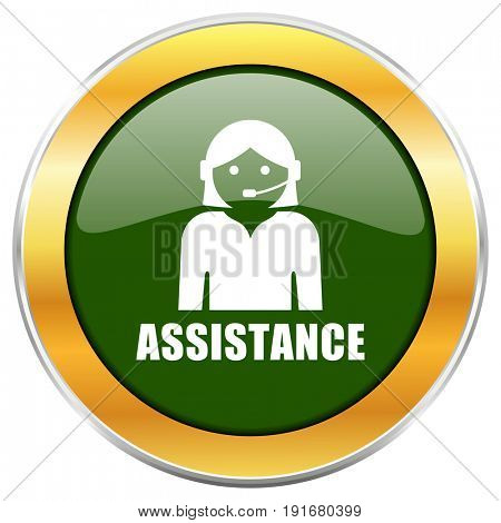 Assistance green glossy round icon with golden chrome metallic border isolated on white background for web and mobile apps designers.