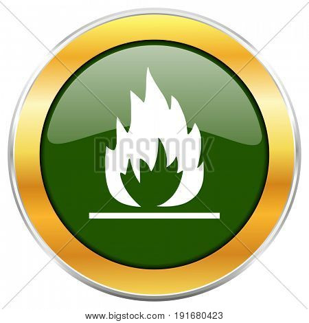 Flame green glossy round icon with golden chrome metallic border isolated on white background for web and mobile apps designers.