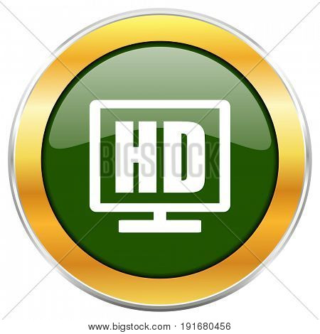 Hd display green glossy round icon with golden chrome metallic border isolated on white background for web and mobile apps designers.