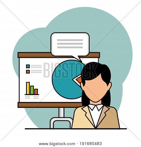 Businesswoman with stats poster and speech balloon over light background vector illustration