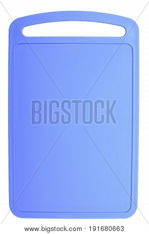 Colored Blue Plastic Cutting Board, Ionized On White Background