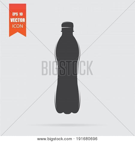 Plastic Bottle Icon In Flat Style Isolated On Grey Background.