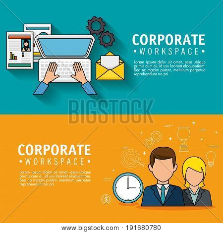 Corporate workspace infographic with businesspeople avatars and office supplies over teal and orange background vector illustration