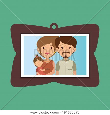 Cute family portrait with frame over green background vector illustration