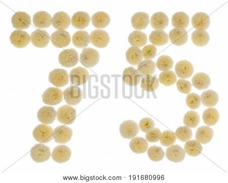 Arabic Numeral 75, Seventy Five, From Cream Flowers Of Chrysanthemum, Isolated On White Background