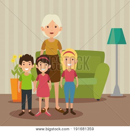 Grandma and grandchildren at the living room colorful design vector illustration