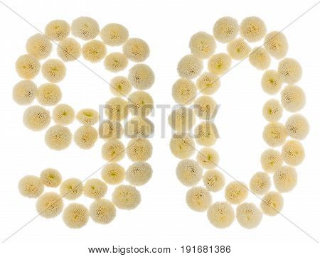Arabic Numeral 90, Ninety, From Cream Flowers Of Chrysanthemum, Isolated On White Background