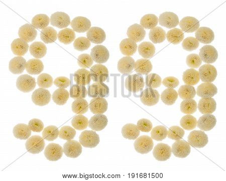 Arabic Numeral 99, Ninety Nine, From Cream Flowers Of Chrysanthemum, Isolated On White Background