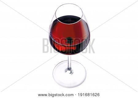 A glass of red wine on a white background isolation