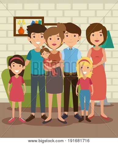 Big family at the living room colorful design vector illustration