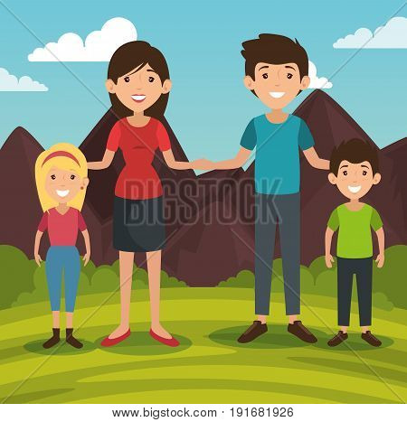 Big family with outdoors landscape behind vector illustration