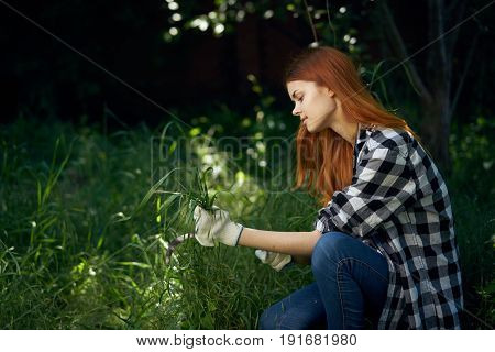 Woman with mower, woman mowing grass, ripping grass, woman holding grass in vegetable garden, giving.
