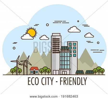 Eco friendly city design with wind turbines and solar panel over white background vector illsutration