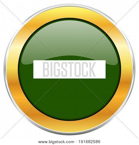 Minus green glossy round icon with golden chrome metallic border isolated on white background for web and mobile apps designers.