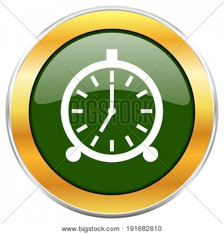 Alarm green glossy round icon with golden chrome metallic border isolated on white background for web and mobile apps designers.