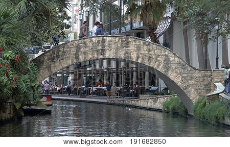 SAN ANTONIO, TEXAS - DECEMBER 11, 2016: View of the bridge on historic San Antonio River Walk.