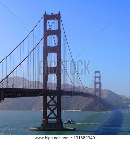 View of Golden Gate Bridge in light fog. San Francisco, California.